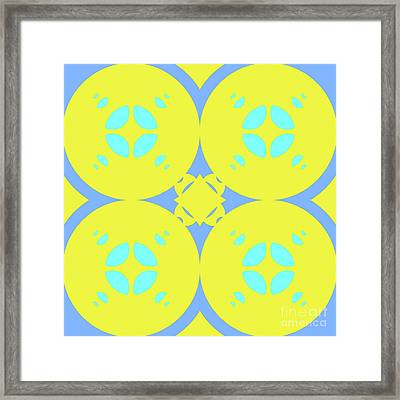 Abstract Mandala Cyan, Dark Blue And Green Pattern For Home Decoration Framed Print by Pablo Franchi