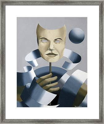 Abstract Mask Oil Painting Framed Print by Mark Webster