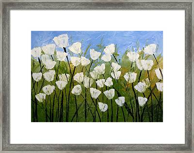 Abstract Modern Floral Art White Tulips By Amy Giacomelli Framed Print by Amy Giacomelli