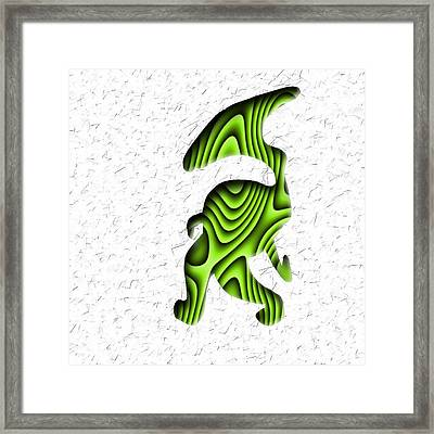 Abstract Monster Cut-out Series - Green Stroll Framed Print by Uncle J's Monsters