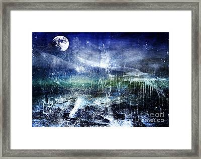 Abstract Moonlit Seascape Painting 36a Framed Print