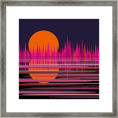 Abstract Moonrise In Pink Framed Print