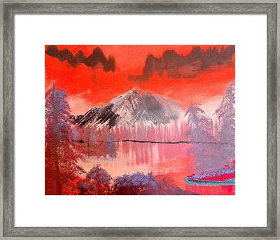Abstract Mountain Lake Framed Print by Krista Duranti