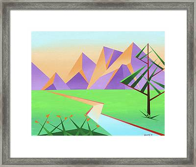 Abstract Mountain River At Sunset With Flowers Painting Framed Print