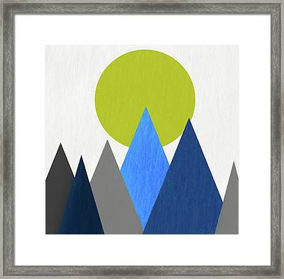 Abstract Mountains And Sun Framed Print by Dan Sproul