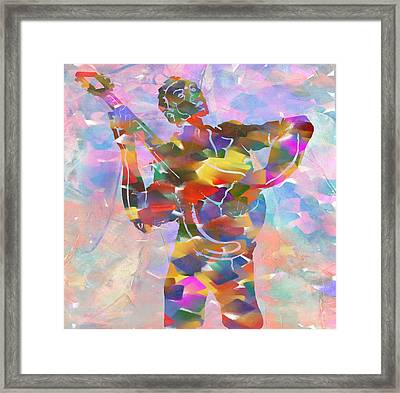 Abstract Musican Guitarist Framed Print by Dan Sproul