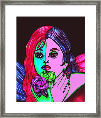 Abstract Neon Rose Fairy Framed Print