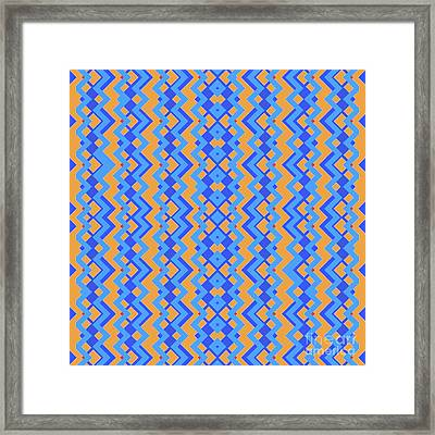 Abstract Orange, Cyan And Cyan Pattern For Home Decoration Framed Print