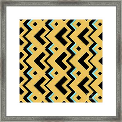Abstract Orange, Dark Gray And Cyan Pattern For Home Decoration Framed Print