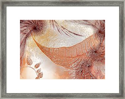 Abstract Orange Leaves And Dandelions Framed Print by Inna Mamonova