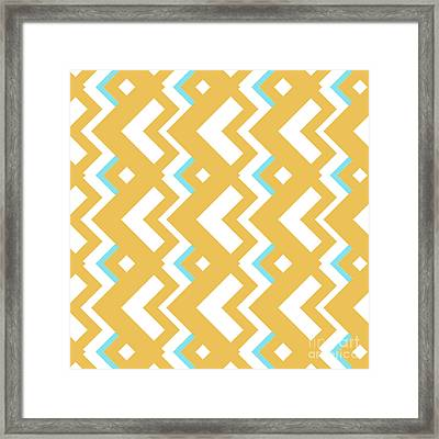 Abstract Orange, White And Cyan Pattern For Home Decoration Framed Print