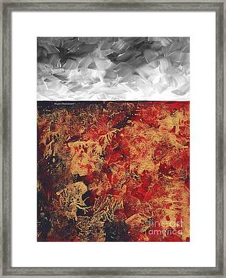 Abstract Original Painting Contemporary Metallic Gold And Red With Gray Madart Framed Print by Megan Duncanson
