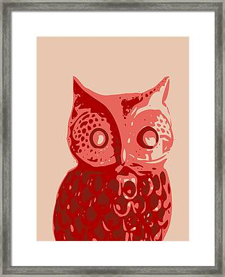 Abstract Owl Contours Red Framed Print
