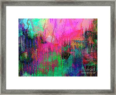 Abstract Painting 621 Pink Green Orange Blue Framed Print