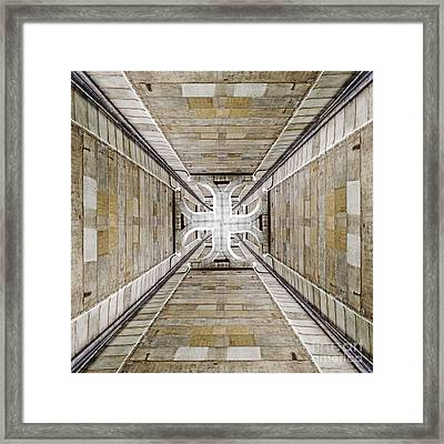 Abstract Pattern Of A Grungy Hollow Concrete Shaft. Framed Print by Caio Caldas