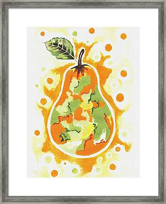 Framed Print featuring the painting Abstract Pear by Kathleen Sartoris