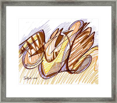 Abstract Pen Drawing Nine Framed Print