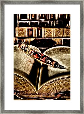 Abstract Pen On Book Framed Print