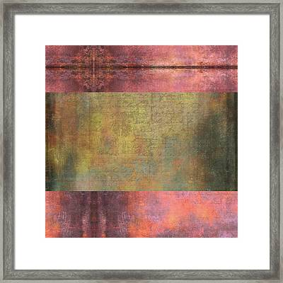 Abstract Pink And Green Metallic Rectangle Framed Print