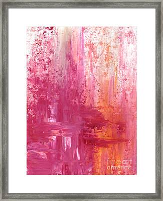 Abstract Pink And Orange Original Painting And Prints The Fire Within By Megan Duncanson Framed Print