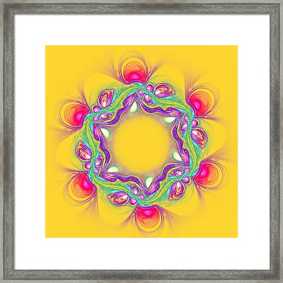 Abstract Pink Flower On Yellow Background Framed Print by Oksana Ariskina