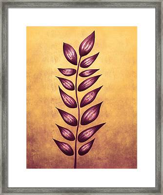 Abstract Plant With Pointy Leaves In Purple And Yellow Framed Print by Boriana Giormova
