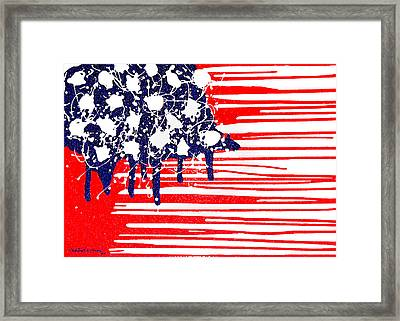 Abstract Plastic Wrapped American Flag Framed Print by Cristophers Dream Artistry