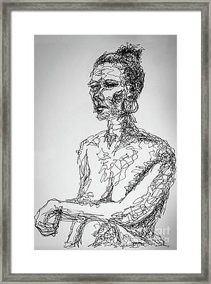 Abstract Portrait Continuous Line Drawing 3970 Framed Print by Robert Yaeger