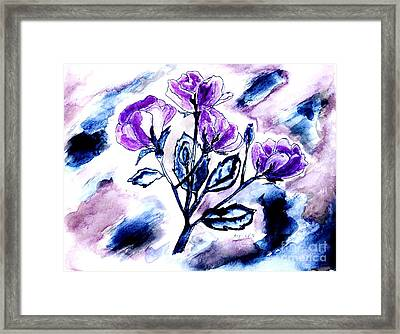 Abstract Purple Roses Framed Print