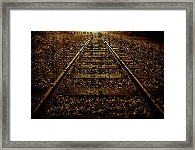 Abstract Railway  Track Sepia Framed Print by Tommytechno Sweden