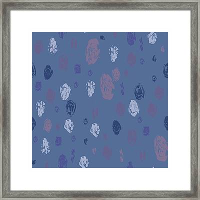 Abstract Rain On Blue Framed Print