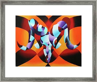Abstract Ram Skull 1 Framed Print