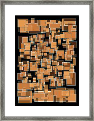 Framed Print featuring the mixed media Abstract Rectangles Nightfall Color Scheme by Frank Tschakert