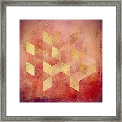 Abstract Red And Gold Geometric Cubes Framed Print by Brandi Fitzgerald