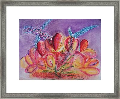 Abstract Red And Purple And Blue Framed Print by Eric  Schiabor