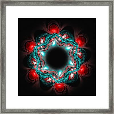 Abstract Red Blue Flower On Dark Background Framed Print by Oksana Ariskina