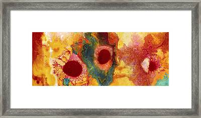 Abstract Red Flower Garden Panoramic Framed Print by Amy Vangsgard