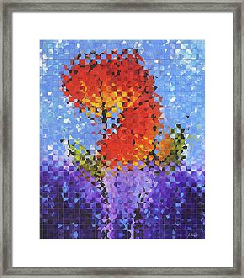 Abstract Red Flowers - Pieces 5 - Sharon Cummings Framed Print