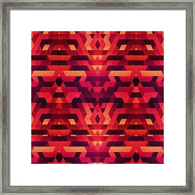 Abstract Red Geometric Triangle Texture Pattern Design Digital Futrure  Hipster  Fashion Framed Print