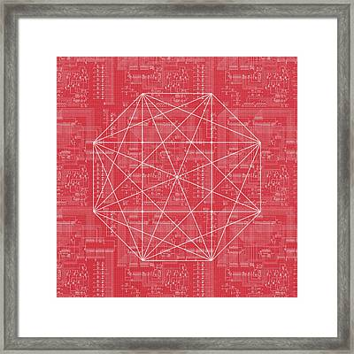 Abstract Red Octagon Line Art Framed Print by Brandi Fitzgerald