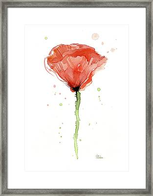 Abstract Red Poppy Watercolor Framed Print by Olga Shvartsur