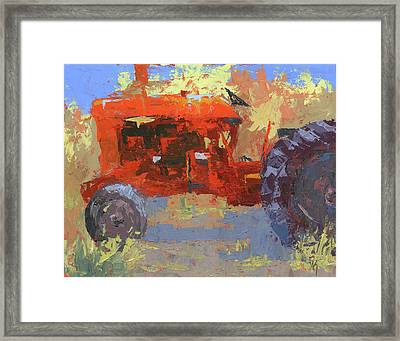Abstract Red Tractor Framed Print