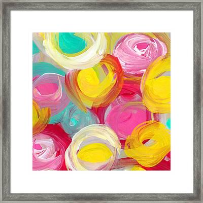 Abstract Rose Garden In The Morning Light Square 1 Framed Print