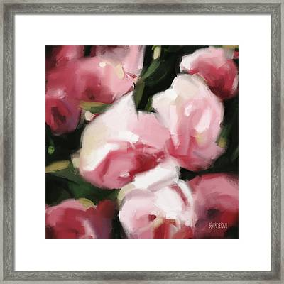 Abstract Roses Dark And Light Pink Framed Print by Beverly Brown