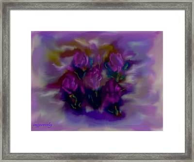 Abstract Roses Framed Print by June Pressly
