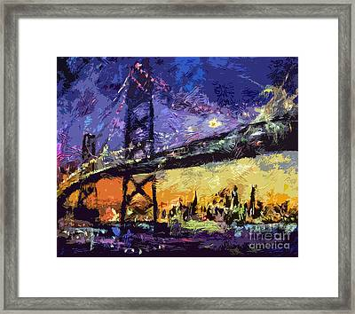 Abstract San Francisco Oakland Bay Bridge At Night Framed Print