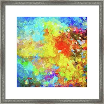Framed Print featuring the painting Abstract Seascape Painting With Vivid Colors by Ayse Deniz