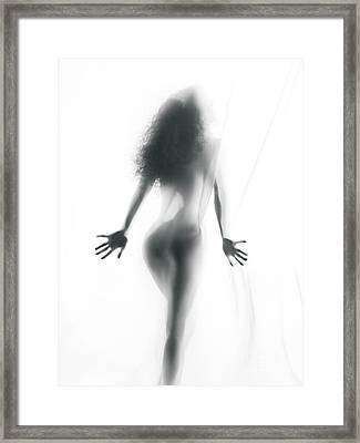 Abstract Sensual Woman Silhouette Behind White Sheer Curtain Framed Print