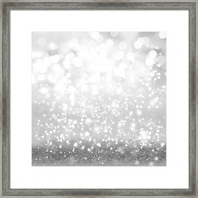 Abstract Silver Bokeh Framed Print by Les Cunliffe