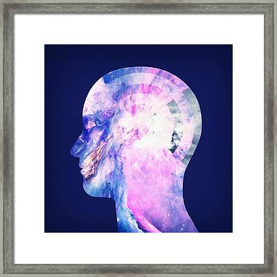 Abstract Space Universe  Galaxy Face Silhouette  Framed Print